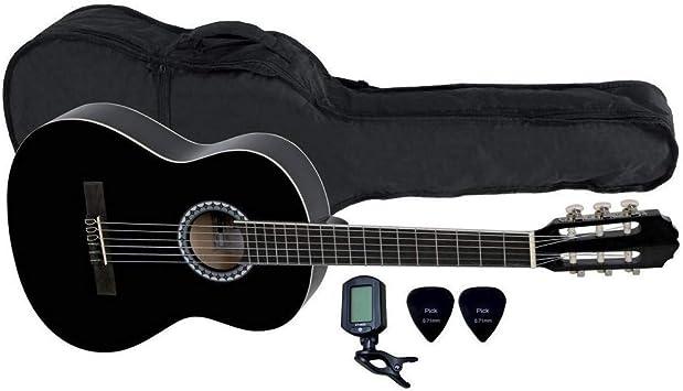 ALMERIA - Pack de guitarra clásica 3/4, color negro: Amazon.es: Instrumentos musicales