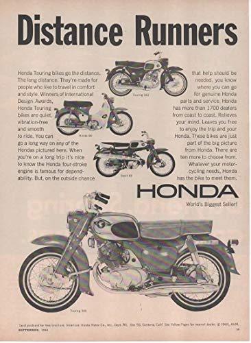 "Magazine Print Ad: 1966 Honda Sport 65-90-Touring 160 & 305 Motorcycle Motorbike,""Distance Runners"""