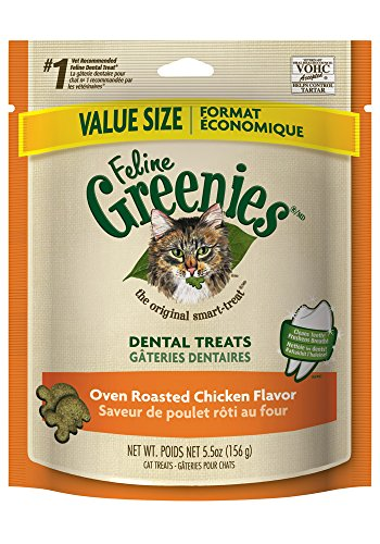 FELINE GREENIES Dental Treats for Cats Oven Roasted Chicken - 5.5 oz.