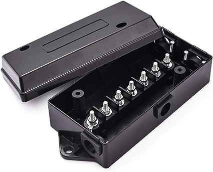 SnowyFox caja de conexiones de cableado para remolque, 7 puertos, resistente a la intemperie, eléctrico, 7 vías, para remolques, remolques, caravanas, barcos: Amazon.es: Coche y moto