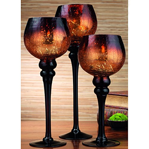 Set of 3 Brown Mercury Chocolate Crackle Finished Glass Hurricane Candle Holders ~ Decorative Sphere Ball Candle Holders ~ Home Decor & Party Centerpiece