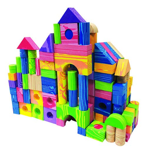 FUN n' SAFE Foam Building Blocks for Toddlers, Brightly Colored Wood Grain Design, 150 Pieces