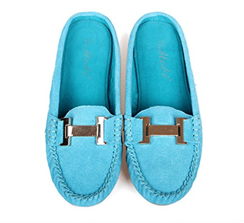 Blue Light Women's Colored Multi Trail Driving Boat Loafers CRC Running Walking Suede Fashion Flats Comfortable Leather Sun 4HCaFqw