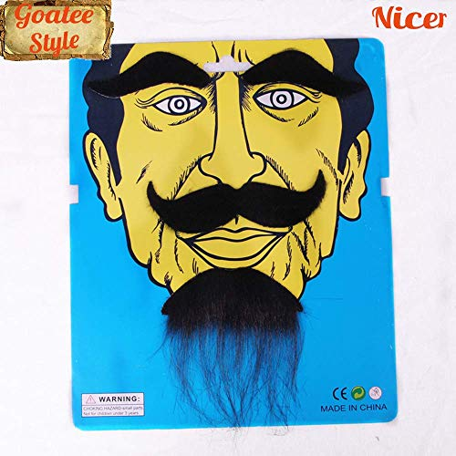 Nicer 1 Set Self Adhesive False Beard Stylish Fake Mustaches Novelty for Mexican, Cinco de Mayo,Birthday,Fiesta Party Favor Costume-Eyebrow+Handlebar+Goatee(Black) (Best Mexican Restaurant Ues)