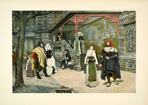 1895 Typogravure James Tissot Faust Marguerite Meeting Opera Costume Medieval - Original
