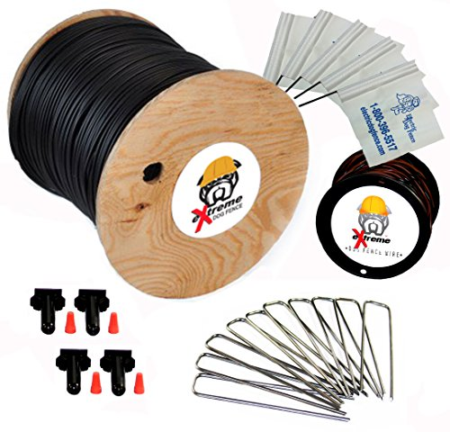 1500' eXtreme ProGrade Complete Boundary Kit 14 Gauge for Underground Hidden Dog Fence - Kit Includes: 1500ft of eXtreme Brand 14-Gauge Perimeter Wire, 50ft of Pro-Grade Twisted Wire, 100 ElectricDogFence Flags, 4 Pro-Grade Wire Splices and 50 Ground Wire - Dog Fence Deluxe Ground