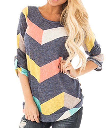 ICOCOPRO Women Colorful Chevron Knitting Top 3/4 Sleeve Zig-Zag Loose Fit Tunic Shirt (Primark Halloween Top)