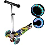 WeSkate Scooter for Kids with LED Wheels | Micro Scooter for Boys and Girls Ages 3-6, Graffiti High ABS Deck, Adjustable Height and Handlebars with TPR Grips