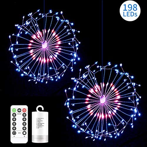 2 Pack 198 LED Fireworks Lights, Hanging Starburst Lights, Battery Operated Fairy String Lights with Remote Control for Christmas, Wedding, Party, Indoor, Outdoor 198 LED, Red, White, White, Blue