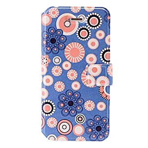 QJM Blur/Pink Circle Geometric Pattern Painting Leather Case with Holder & Card Slots for iphone 5/5S