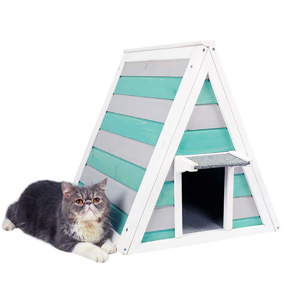 QNMM Cat Villa Home Solid Wood Cat House Closed Pet Nest Cat House Suitable For Small Pets To Rest