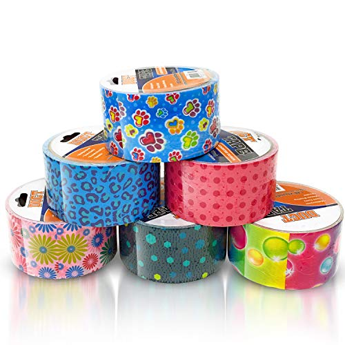 Duct Tape Multi Pack Colors Set of 6 Rolls - Decorative Colored Duct Tape Variety Pack as Colorful Printed Duct Tape Crafts for Kids - 5 to 6 Random Printed Designs and Colors 5 Yards Long