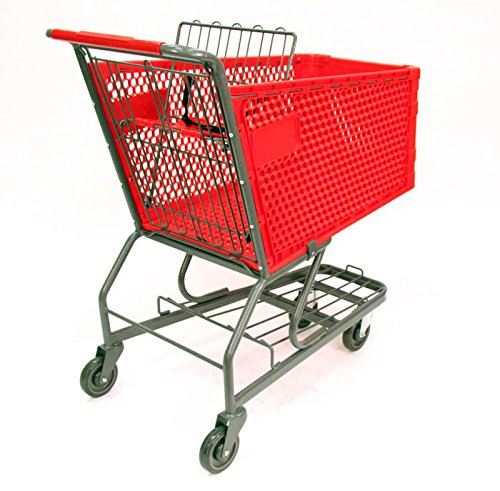 3 Pc New Red Large Plastic Shopping Cart with Bottom Tray (180-liter)