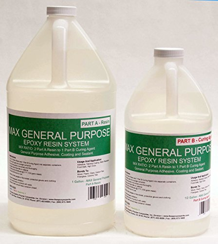 Price comparison product image MAX GENERAL PURPOSE GRADE Epoxy Resin System - 1.5 Gallon Kit - RV Repair(Delamination), Adhesive, Coating, Wood Sealing, Arts & Crafts, Hobby Casting and Fiberglassing
