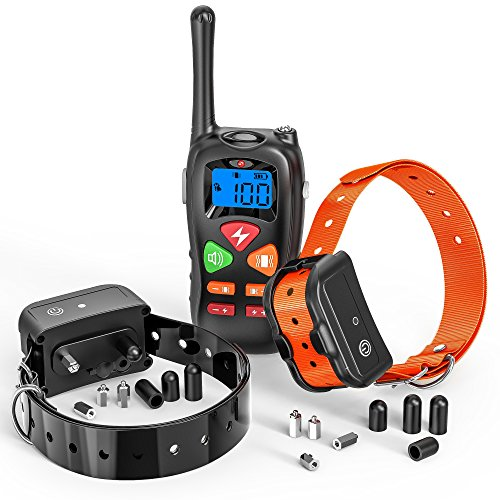 Dog Training Collar, F-color Upgraded 1400ft Remote Dog Shock Collar Rechargeable Waterproof Dog Remote Collar with Beep Vibration and Safe Shock for Small Medium Large Dogs, Electric E-collar