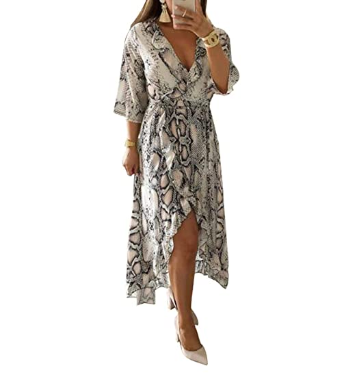 8a5068fe2e Classic Women V Neck Dress Snakeskin Leopard Print Dresses Slit Wrap Medium  Long Beach Party Dress