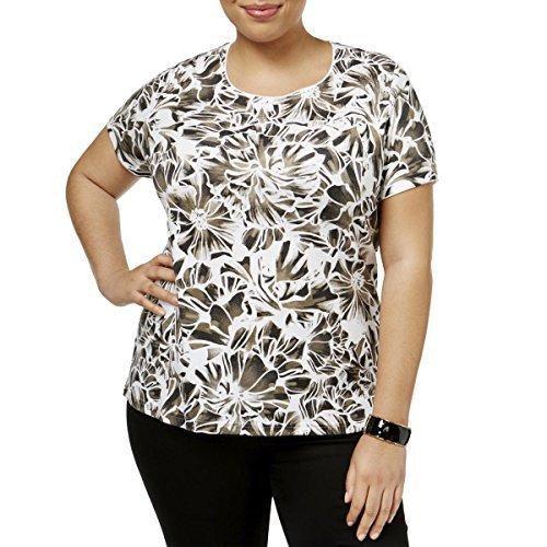 Karen Scott Womens Plus Floral Print Jewel Neck Pullover Top White 1X from Karen Scott