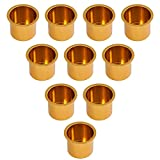 GSE Games & Sports Expert 10-Pack of Gold Jumbo Aluminum Drop-in Drink Cup Holder for Poker Table and Boat
