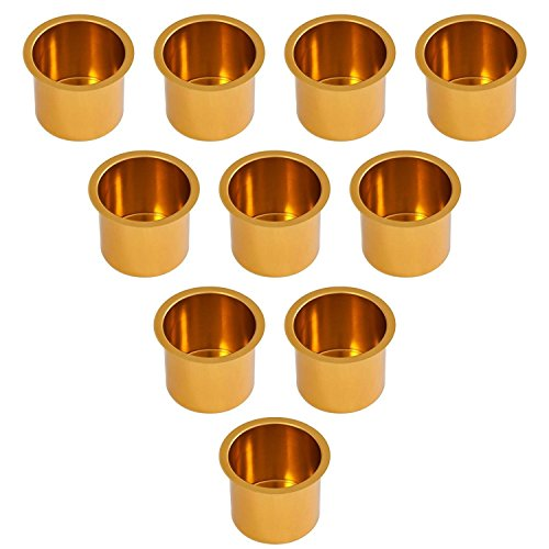 GSE Games & Sports Expert 10-Pack Jumbo Aluminum Drop-in Cup Holders (5 Colors Available) (Gold)