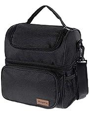 Anpro Lunchtas, koeltas voor lunch, lunchtas voor volwassenen met verstelbare schouderriem, voor het dragen van lunchbox, lunchkit voor kamperen, vissen, grillen, zwart (24 x 20 x 14,5 cm)