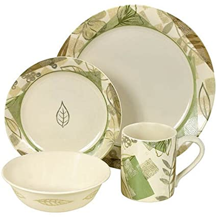 Corelle Impressions 16-Piece Dinnerware Set Service for 4 Textured Leaves  sc 1 st  Amazon.com & Amazon.com | Corelle Impressions 16-Piece Dinnerware Set Service ...