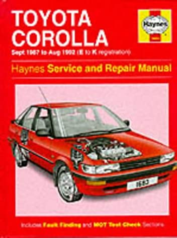 toyota corolla 1987 92 service and repair manual haynes service and rh amazon com toyota corolla e90 repair manual E90 Corolla Hatchback JDM