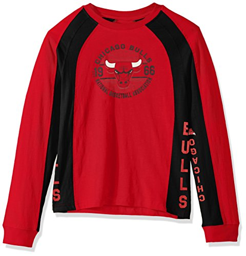 Hands High NBA Chicago Bulls Youth Boys Switch Hitter Long Sleeve Fashion Top, Large, Red ()