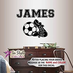 Wall Vinyl Decal Home Decor Art Sticker Soccer Football Shoes Cleats Ball Customized Name Boy Girl Sport Room Removable Stylish Mural Unique Design 2407