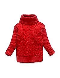 OUYAJI Baby boys girls Long sleeves high collar Twist sweater Keep warm