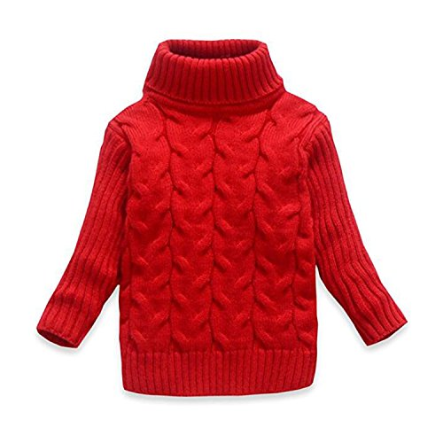 OUYAJI Baby Boys Girls Long Sleeves high Collar Twist Sweater Keep Warm red US Size 4T