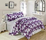 U. S. Polo Assn. 7 PC Large Floral Bed in a Bag Set Purple, White Full