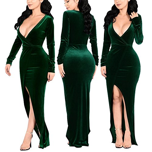 Deep V Neck Long Sleeve Velvet Long Evening Party Dress Sexy Bodycon Split Side L Green