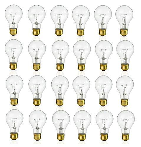 (Pack of 24) Incandescent 60 Watt A19 Light Bulb: Clear Standard Household E26 Medium Base Rough Service Light Bulbs