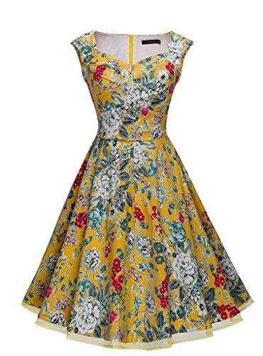 HOMEYEE Damen Sommerkleid 1950er Retro Cocktailkleid Faltenrock Abendkleider A003 (36, Gelb)