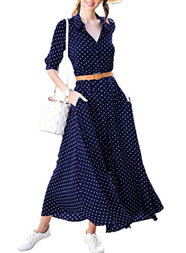 CANIKAT Women's Casual V-Neck Polka Dot Print Button Up Split Long Sleeve Maxi Dress with Pockets and ()