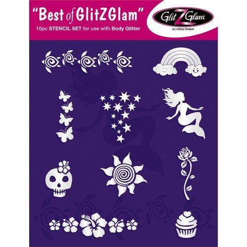 Tattoo Stencil Set: Best of GlitZGlam Temporary Tattoos Stencils Set by GlitZGlam Body Art - Hypoallergenic and Dermatologist Tested!