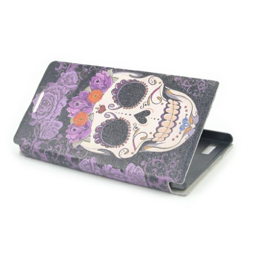"""ivencase Painting Art Skull Design PU leather Flip Cover Case for Huawei Ascend P6 + One phone sticker + One """"ivencase"""" Anti-dust Plug Stopper"""