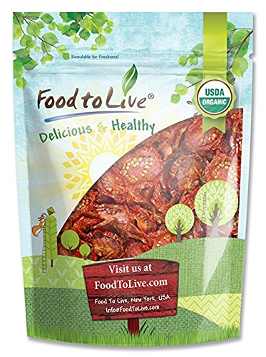 Food to Live Organic Sun-Dried Tomatoes (Salted, Non-GMO, Kosher, Unsulfured, Bulk, (1 Pound)