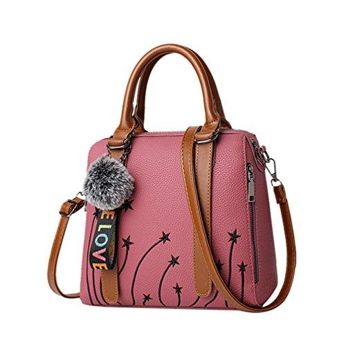 LINNUO Mujer Impresión Bolsa De Hombro De PU Cuero Bolsa de Mensajero Con Manija Bolsos de Mano Fiesta Pink Oscuro