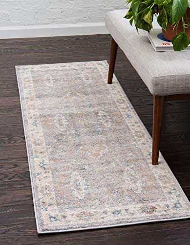 Unique Loom Salzburg Collection Traditional Oriental Gray Runner Rug 2 0 x 6 0