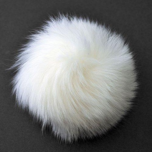 Natural Fox Fur Pom Pom balls by pc, Approx. 4 to 5, White, TR-11081