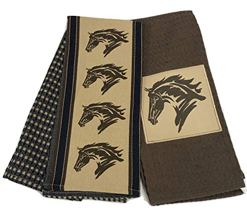 Tack Shack of Ocala, Horse Kitchen, Dish Towels, Coordinating Set of 2, Waffle Cotton, Brown and Blue with Horse Head Design! Check Out Our Red & Tan Ones Too!! Search Amazon
