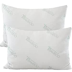 Essence of Bamboo Derived Rayon Gel Fiber Pillows - Down Alternative, Hypoallergenic .9 Micro Denier Filled Pillows with Bamboo Derived Rayon / Poly Cover (Queen 2-Pack, Extra Soft) Crafted in the USA
