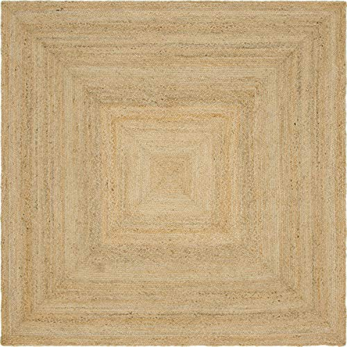 Unique Loom Braided Jute Collection Hand Woven Natural Fibers Natural Square Rug (8' 0 x 8' 0)