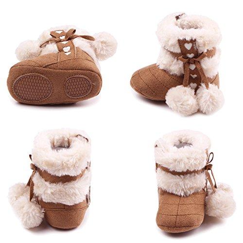 Gosear Botas de Navidad Baby Botas de invierno infantil suave Suela zapatos para 6-12 meses Baby Oscuro Rojo A Oscuro Caqui