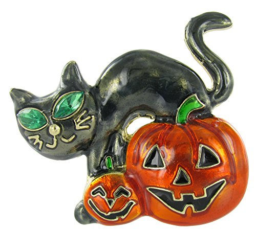 Girls Emerald Witch Costumes (Happy Halloween Black Cat and Jacks Brooch Pin with Orange and Black Enamel)