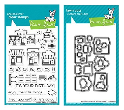 Lawn Fawn Village Shops Clear Stamps and Coordinating Village Shops Lawn Cuts Dies (LF1692, LF1693), 2 Piece (Shop Stamp)