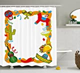 Ambesonne Fiesta Shower Curtain, Cartoon Drawing Style Mexican Pinata Taco Chili Pepper Sugar Skull Pattern Guitar, Fabric Bathroom Decor Set with Hooks, 75 inches Long, Multicolor