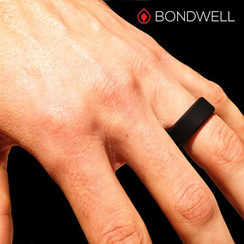 BONDWELL Silicone Wedding Ring for Men (Black) Save Your Finger & A Marriage Safe, Durable Rubber Wedding Band for Active Athletes, Military, Crossfit, Weight Lifting, Workout - 100% Guarantee (11) by BONDWELL (Image #5)