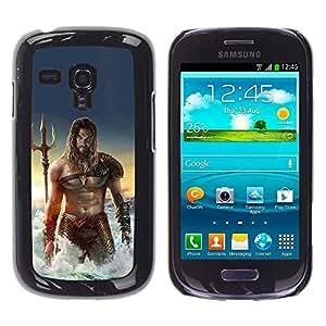 Hombre atractivo Mar Abs Músculos Poseidon- Metal de aluminio y de plástico duro Caja del teléfono - Negro - Samsung Galaxy S3 MINI i8190 (NOT S3)